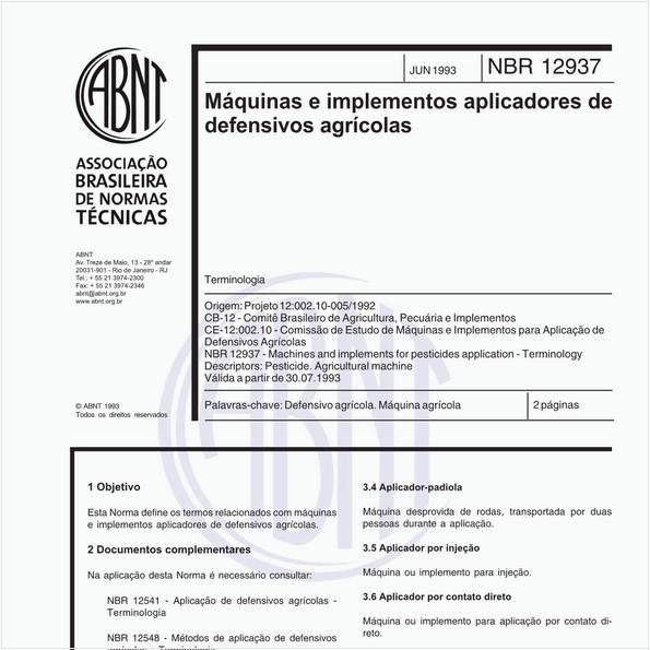 Máquinas e implementos aplicadores de defensivos agrícolas - Terminologia