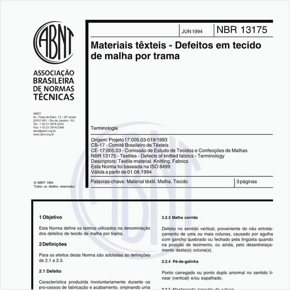 Materiais têxteis - Defeitos em tecido de malha por trama - Termonologia