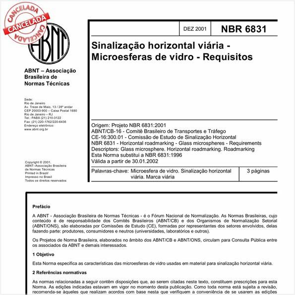 Sinalização horizontal viária - Microesferas de vidro - Requisitos