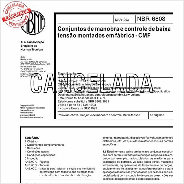 """Conjuntos de manobra e controle de baixa tensão montados em fábrica - """"CMF"""""""