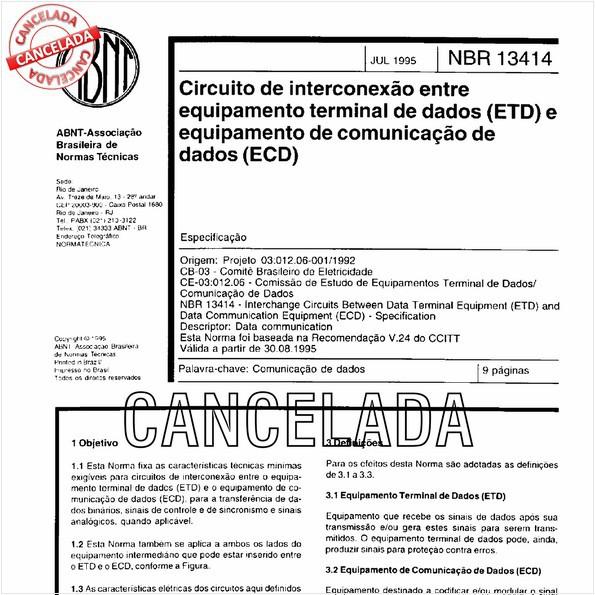 Circuito de interconexão entre equipamento terminal de dados (ETD) e equipamento de comunicação de dados (ECD)