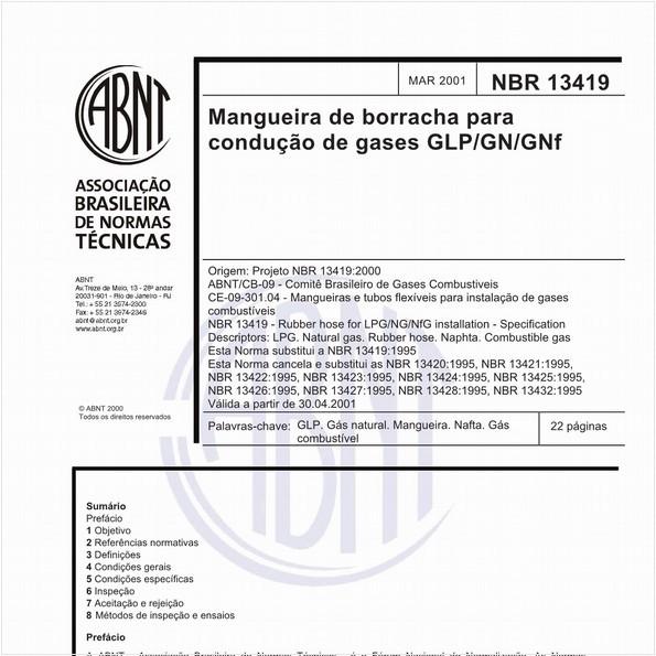 Mangueira de borracha para condução de gases GLP/GN/GNF - Especificação