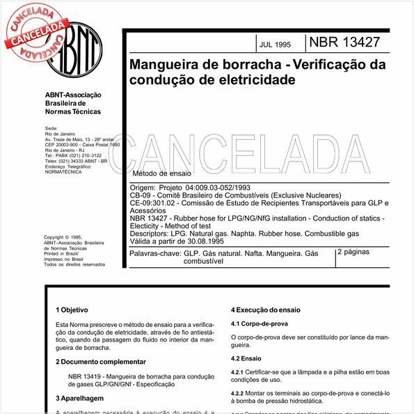 Mangueira de borracha - Verificação da condução de eletricidade