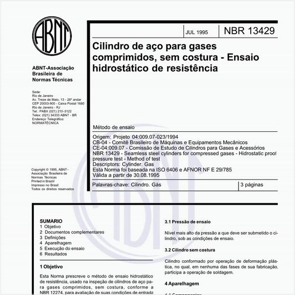 Cilindro de aço para gases comprimidos, sem costura - Ensaio hidrostático de resistência - Método de ensaio