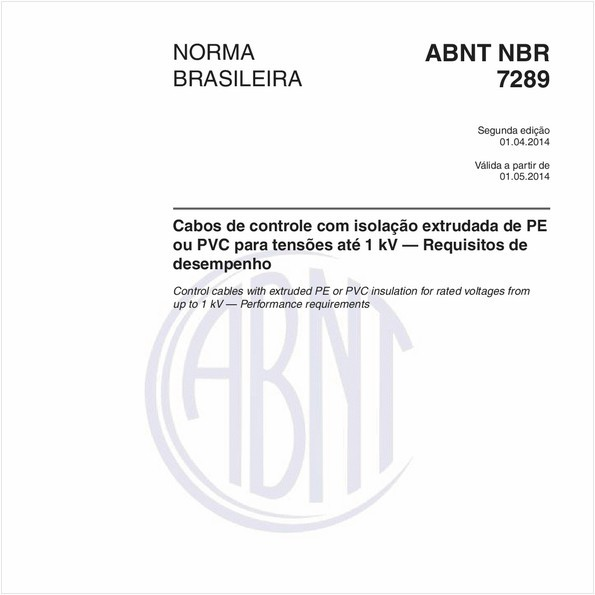Cabos de controle com isolação extrudada de PE ou PVC para tensões até 1 kV — Requisitos de desempenho
