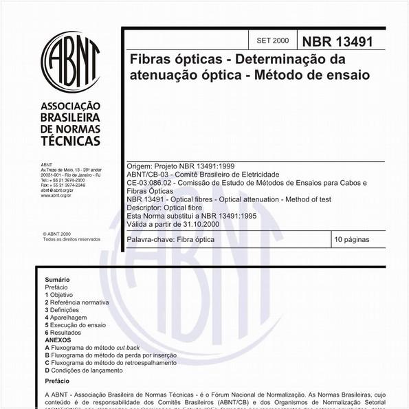 Fibras ópticas - Determinação da atenuação óptica - Método de ensaio