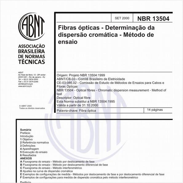 Fibras ópticas - Determinação da disperção cromática - Método de ensaio