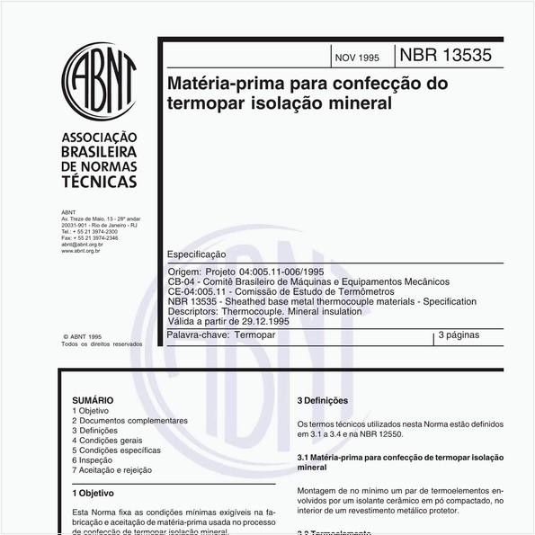 Matéria-prima para confecção do termopar isolação mineral - Especificação