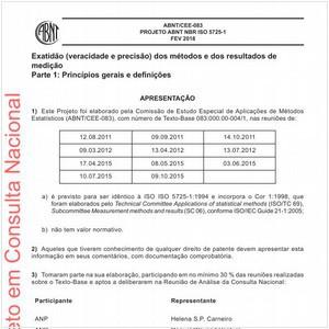 Visualizar: Projeto ABNT NBR ISO 5725-1