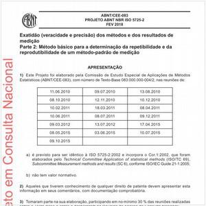 Visualizar: Projeto ABNT NBR ISO 5725-2