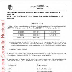 Visualizar: Projeto ABNT NBR ISO 5725-3