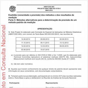 Visualizar: Projeto ABNT NBR ISO 5725-5