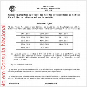 Visualizar: Projeto ABNT NBR ISO 5725-6