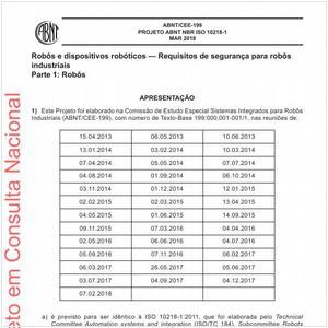 Visualizar: Projeto ABNT NBR ISO 10218-1