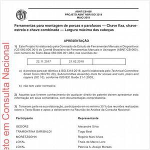 Visualizar: Projeto ABNT NBR ISO 3318