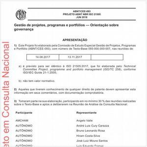Visualizar: Projeto ABNT NBR ISO 21505