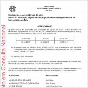 Visualizar: Projeto ABNT NBR IEC 60268-16