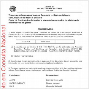 Visualizar: Projeto ABNT NBR ISO 11783-10