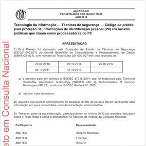 Visualizar: Projeto ABNT NBR ISO/IEC 27018