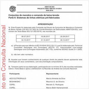 Visualizar: Projeto ABNT NBR IEC 61439-6