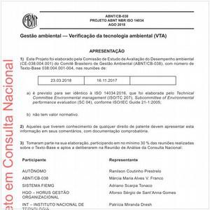 Visualizar: Projeto ABNT NBR ISO 14034