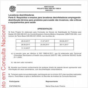 Visualizar: Projeto ABNT NBR ISO 15883-6