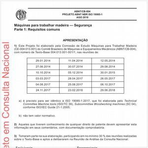 Visualizar: Projeto ABNT NBR ISO 19085-1