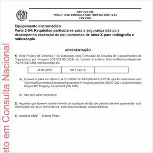 Visualizar: Projeto de Emenda 1 ABNT NBR IEC 60601-2-54