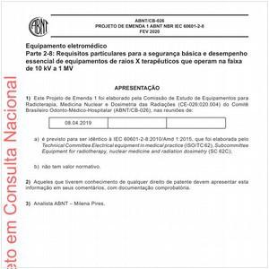 Visualizar: Projeto de Emenda 1 ABNT NBR IEC 60601-2-8