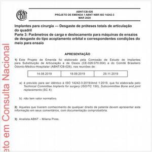 Visualizar: Projeto de Emenda ABNT NBR ISO 14242-3