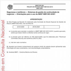 Visualizar: Projeto de Revisão ABNT NBR ISO 22313