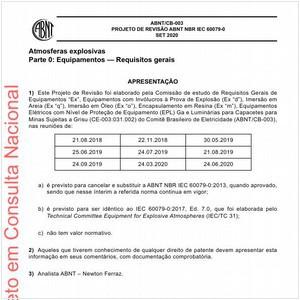 Visualizar: Projeto de Revisão ABNT NBR IEC 60079-0