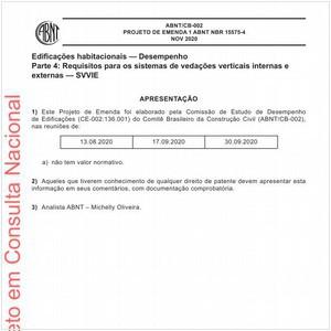 Visualizar: Projeto de Emenda 1 ABNT NBR 15575-4