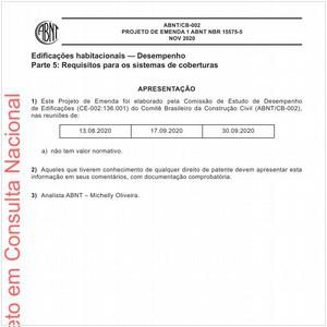 Visualizar: Projeto de Emenda 1 ABNT NBR 15575-5