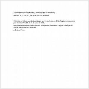 Visualizar: Portaria MTIC/MTIC 282:1948 - Situação: Em vigor