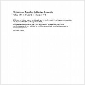 Visualizar: Portaria MTIC/MTIC 283:1948 - Situação: Revisto