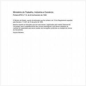 Visualizar: Portaria MTIC/MTIC 14:1949 - Situação: Em vigor