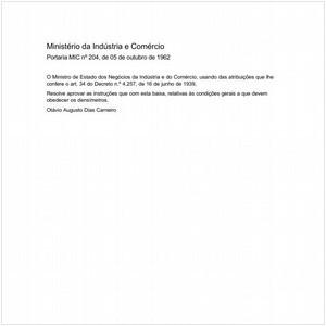 Visualizar: Portaria MIC/MIC 204:1962 - Situação: Revisto