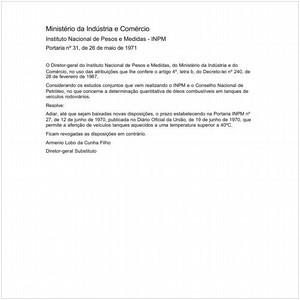 Visualizar: Portaria INPM/MIC 31:1971 - Situação: Em vigor