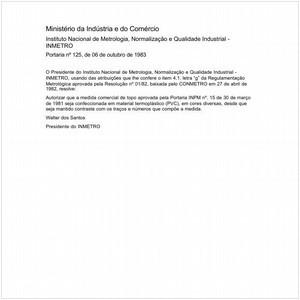 Visualizar: Portaria INMETRO/MIC 125:1983 - Situação: Em vigor