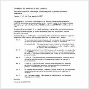 Visualizar: Portaria INMETRO/MIC 105:1987 - Situação: Revisto