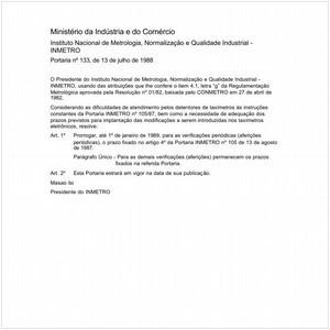 Visualizar: Portaria INMETRO/MIC 133:1988 - Situação: Em vigor