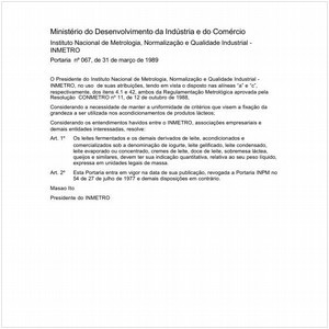Visualizar: Portaria INMETRO/MDIC 67:1989 - Situação: Em vigor