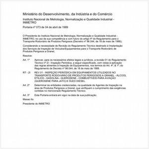 Visualizar: Portaria INMETRO/MDIC 73:1989 - Situação: Em vigor