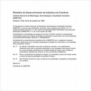 Visualizar: Portaria INMETRO/MDIC 232:1989 - Situação: Em vigor