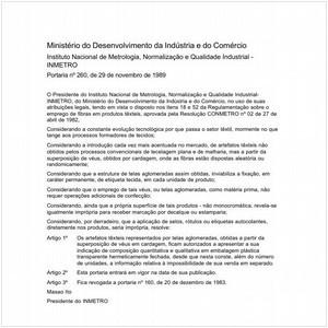 Visualizar: Portaria INMETRO/MDIC 260:1989 - Situação: Em vigor