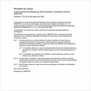 Visualizar: Portaria INMETRO/MJ 134:1990 - Situação: Em vigor