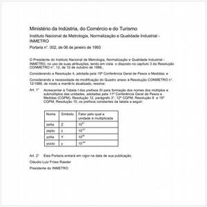 Visualizar: Portaria INMETRO/MICT 2:1993 - Situação: Em vigor
