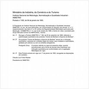 Visualizar: Portaria INMETRO/MICT 3:1993 - Situação: Em vigor