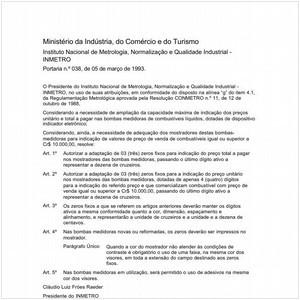 Visualizar: Portaria INMETRO/MICT 38:1993 - Situação: Em vigor